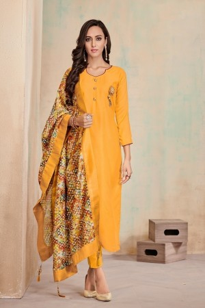 Yellow Jam Cotton Churidar Suit
