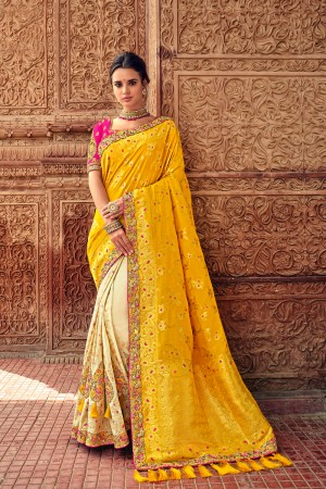 Cream & Yellow Banarasi Silk Saree with Blouse