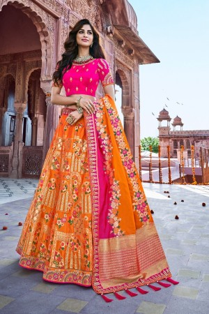 Orange Silk Lehenga Choli