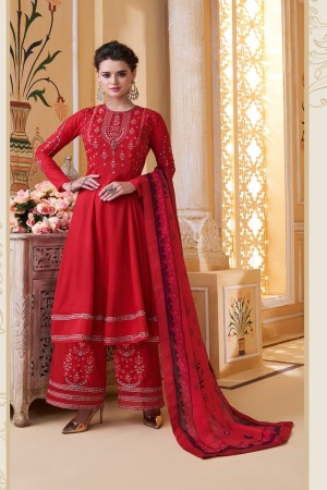 Red Muslin Plaazo Suit