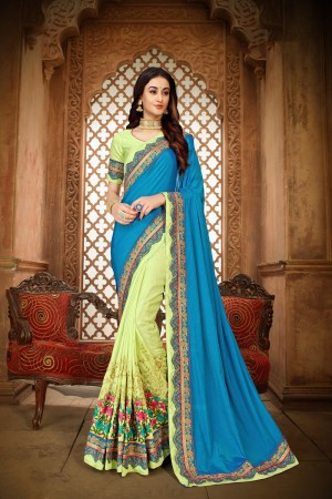 Blue & Pista Green Vichitra Silk Saree with Blouse