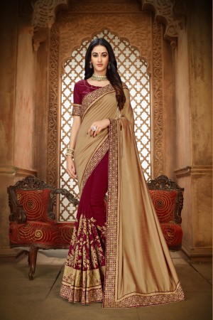 Golden & Maroon Vichitra Silk Saree with Blouse