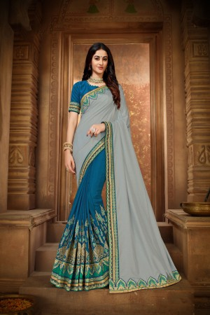 Blue & Grey Vichitra Silk Saree with Blouse