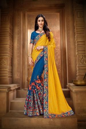 Yellow & Blue Vichitra Silk Saree with Blouse