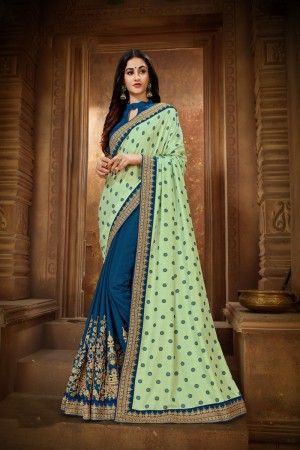 Pista Green & Blue Vichitra Silk Saree with Blouse