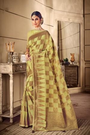 Light Yellow Banarasi Silk Saree with Blouse