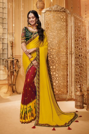 Mustard & Maroon Satin Georgette Saree with Blouse