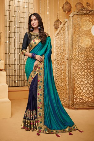 Firozi & Navy Blue Satin Georgette Saree with Blouse