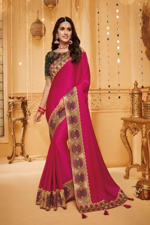 RaniPink Satin Georgette Saree with Blouse