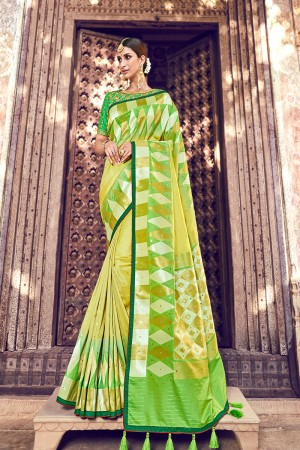Lemon Silk Saree with Blouse