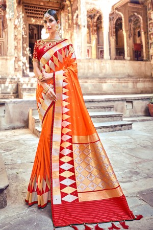 Orange Silk Saree with Blouse
