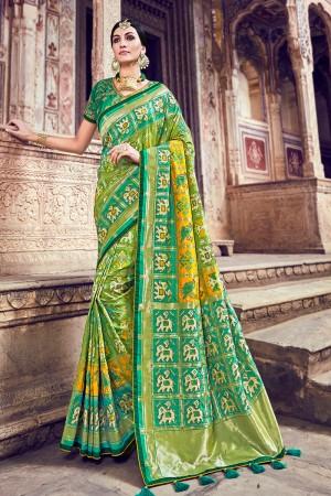 Light Green Silk Saree with Blouse