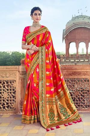 Multi color Banarasi Silk Saree with Blouse