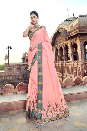Baby Pink Silk Saree with Blouse