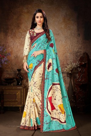 Sky Blue & Off white Dola Silk Saree with Blouse