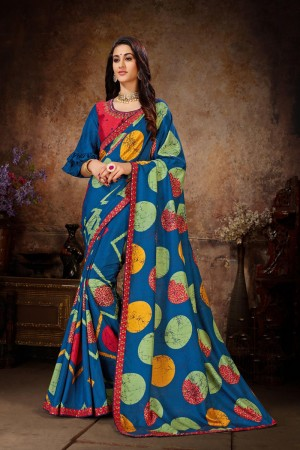 Blue Dola Silk Saree with Blouse
