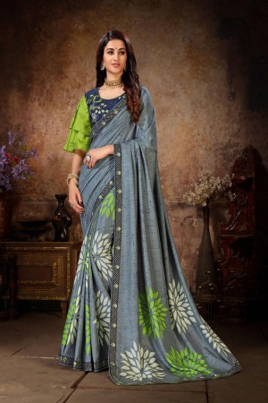 Grey Dola Silk Saree with Blouse