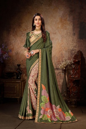 Mehendi Dola Silk Saree with Blouse