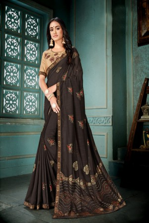 Brown Vichitra Silk Saree with Blouse