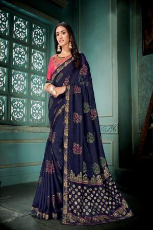 Navy Blue Vichitra Silk Saree with Blouse