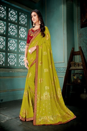 Mustard Vichitra Silk Saree with Blouse