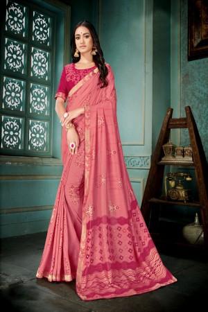 Peach Vichitra Silk Saree with Blouse