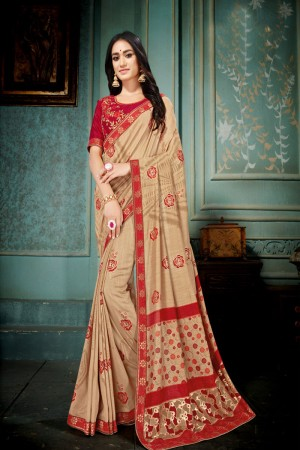 Beige Vichitra Silk Saree with Blouse