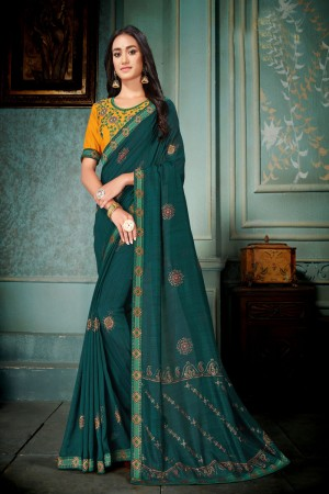 Teal Vichitra Silk Saree with Blouse