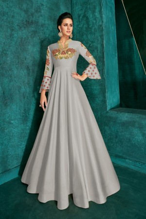 Light Grey Silk Gown