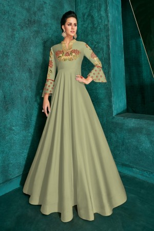 Olive Silk Gown