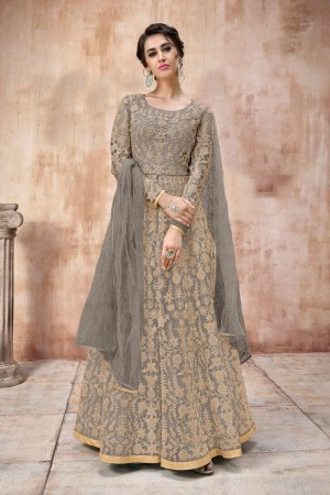 Grey Net Anarkali Suit
