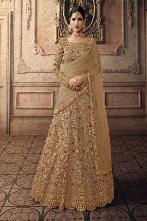 Golden Net Lehenga Choli