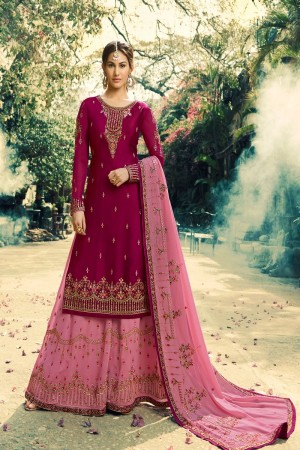 Magenta Satin Georgette Sharara Suit