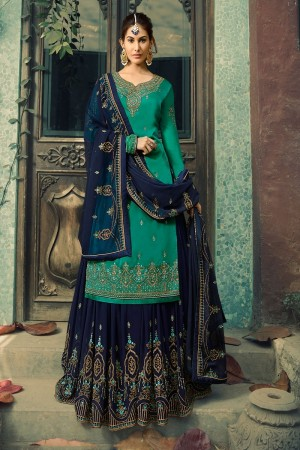 Rama Satin Georgette Sharara Suit