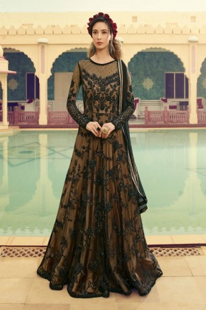 Black Butterfly Net Anarkali Suit