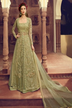 Pista Butterfly Net Anarkali Suit