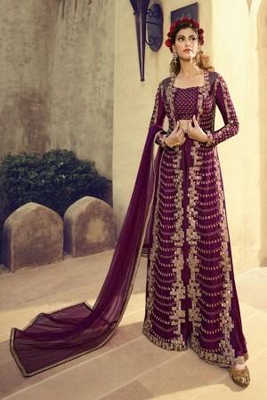 Wine Silk Anarkali Suit