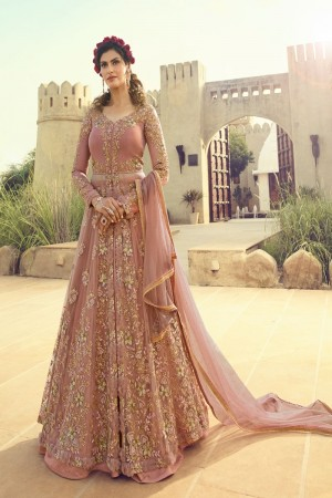 Peach Butterfly Net Anarkali Suit