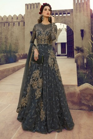 Dark Grey Butterfly Net Anarkali Suit