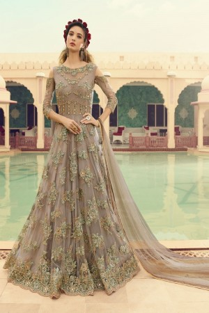 Light Brown Butterfly Net Anarkali Suit