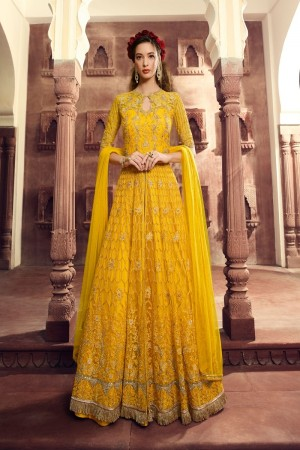 Yellow Butterfly Net Anarkali Suit