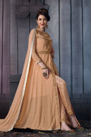 Salmon Georgette Anarkali Suit