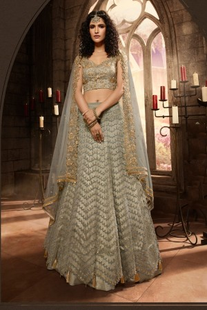 Light Mehendi Net Lehenga Choli