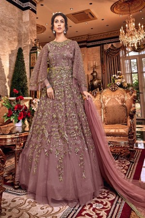 Blush Pink Butterfly Net Anarkali Suit