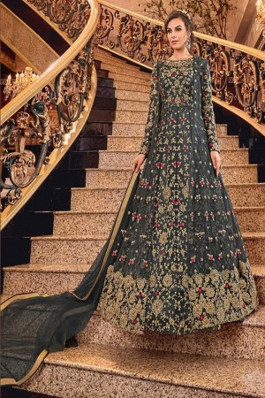 Grey Butterfly Net Anarkali Suit