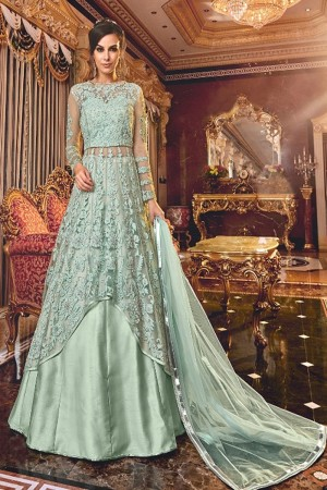 Mint Butterfly Net Anarkali Suit