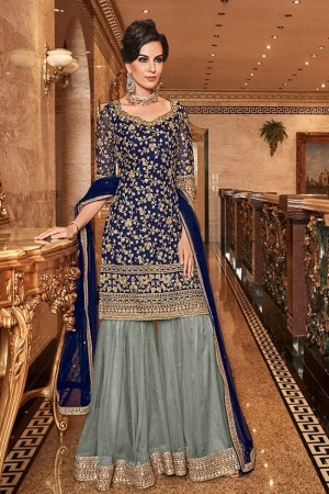 Blue Premium Net Plaazo Suit