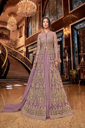 Lavender Butterfly Net Anarkali Suit