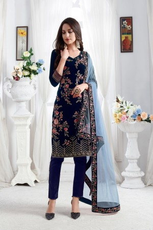 Blue Velvet Churidar Suit