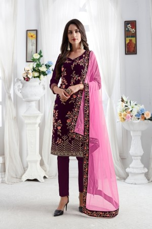 Wine Velvet Churidar Suit